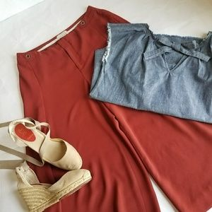 Anthropologie Brick Red The Essential Culotte 8